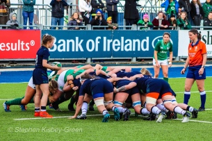 Scrum time for Ireland and Scotland at Energia Park. Photo: Stephen Kisbey-Green