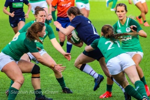 Evie Tonkin attracts the attention of four Irish defenders while making a strong run. Photo: Stephen Kisbey-Green