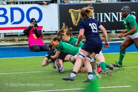 Emma Wassell scoring for Scotland against Ireland. Photo: Stephen Kisbey-Green