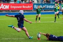Lana Skeldon attempts a conversion for Scotland against Ireland. Photo: Stephen Kisbey-Green