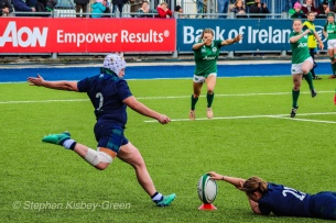 Lana Skeldon attempts a conversion for Scotland against Ireland. Photo: Stephen Kisbey-Green