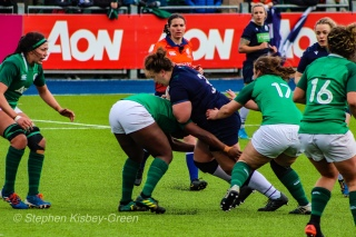 Battle of the props, as Mairi Forsyth is tackled by Linda Djougang. Photo: Stephen Kisbey-Green