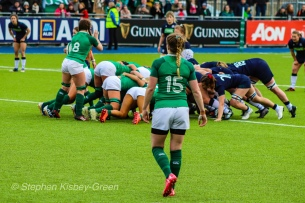 Lauren Delaney looks on as Ireland look to secure the ball at the scrum. Photo: Stephen Kisbey-Green