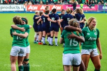 Ireland celebrate their first win of the 2020 6 Nations season, as Scotland regroup after a close match. Photo: Stephen Kisbey-Green