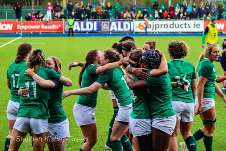 Ireland celebrate their first win of the 2020 6 Nations season. Photo: Stephen Kisbey-Green