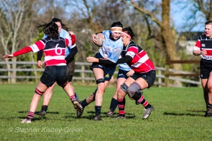 Sophie Kilburn on the attack for DCU against Wicklow RFC. Photo: Stephen Kisbey-Green