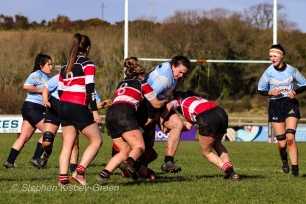 Katie O'Brien is wrapped up by the Wicklow defense. Photo: Stephen Kisbey-Green