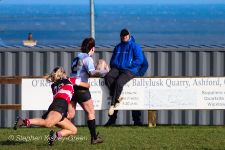 A brilliant run from Hannah Heskin is stopped by some equally brilliant Wicklow cover defense. Photo: Stephen Kisbey-Green