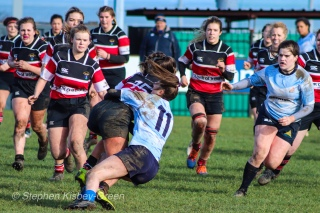 Lucinda Kinghan makes a strong tackle against Wicklow RFC. Photo: Stephen Kisbey-Green