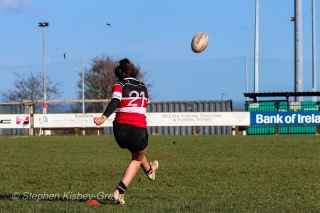 It was a very difficult day for kicking between Wicklow RFC and DCU, with all but one kick going wide of the posts. Photo: Stephen Kisbey-Green