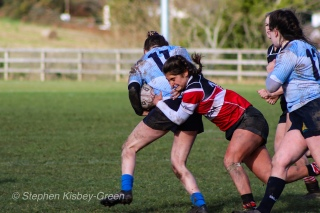 Lucinda Kinghan is unable to get passed her opposite number against Wicklow RFC. Photo: Stephen Kisbey-Green