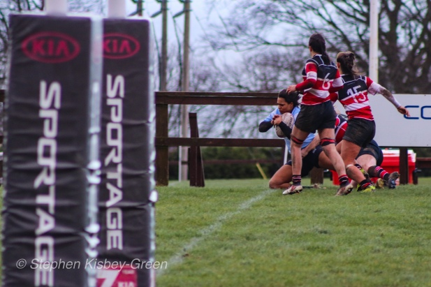 Eimear Corri had the last word on the scoreboard against Wicklow RFC, as she crossed over in the corner in the last minute of the match. Photo: Stephen Kisbey-Green